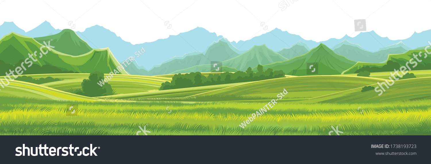 Meadows, hills and mountains. Vector background. Alpine green pastures, grass. Horizontal landscape. Summer, spring day. Scenery. #1738193723