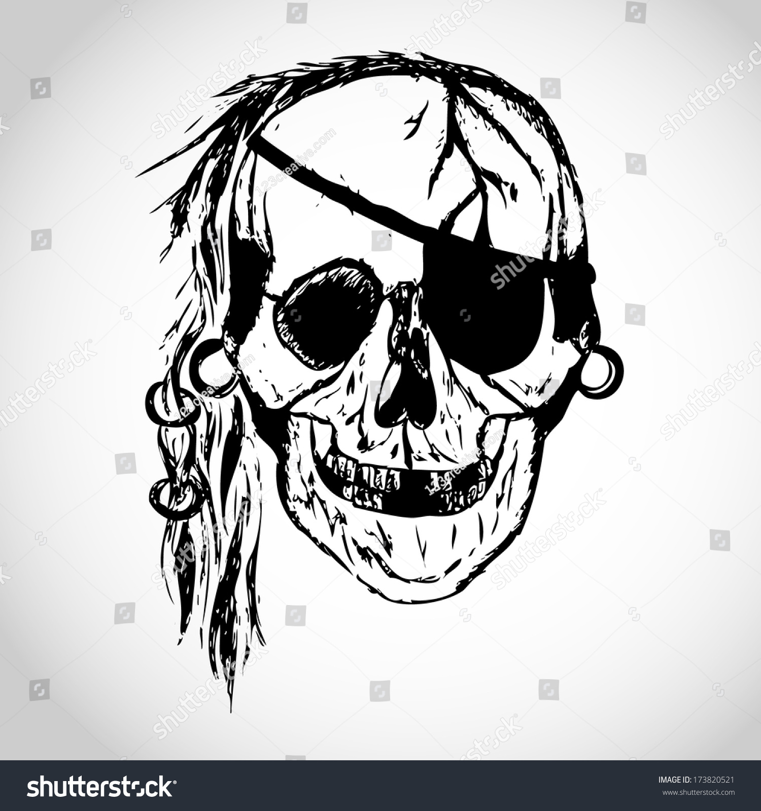 toothless pirate skull illustration isolated vector stock vector