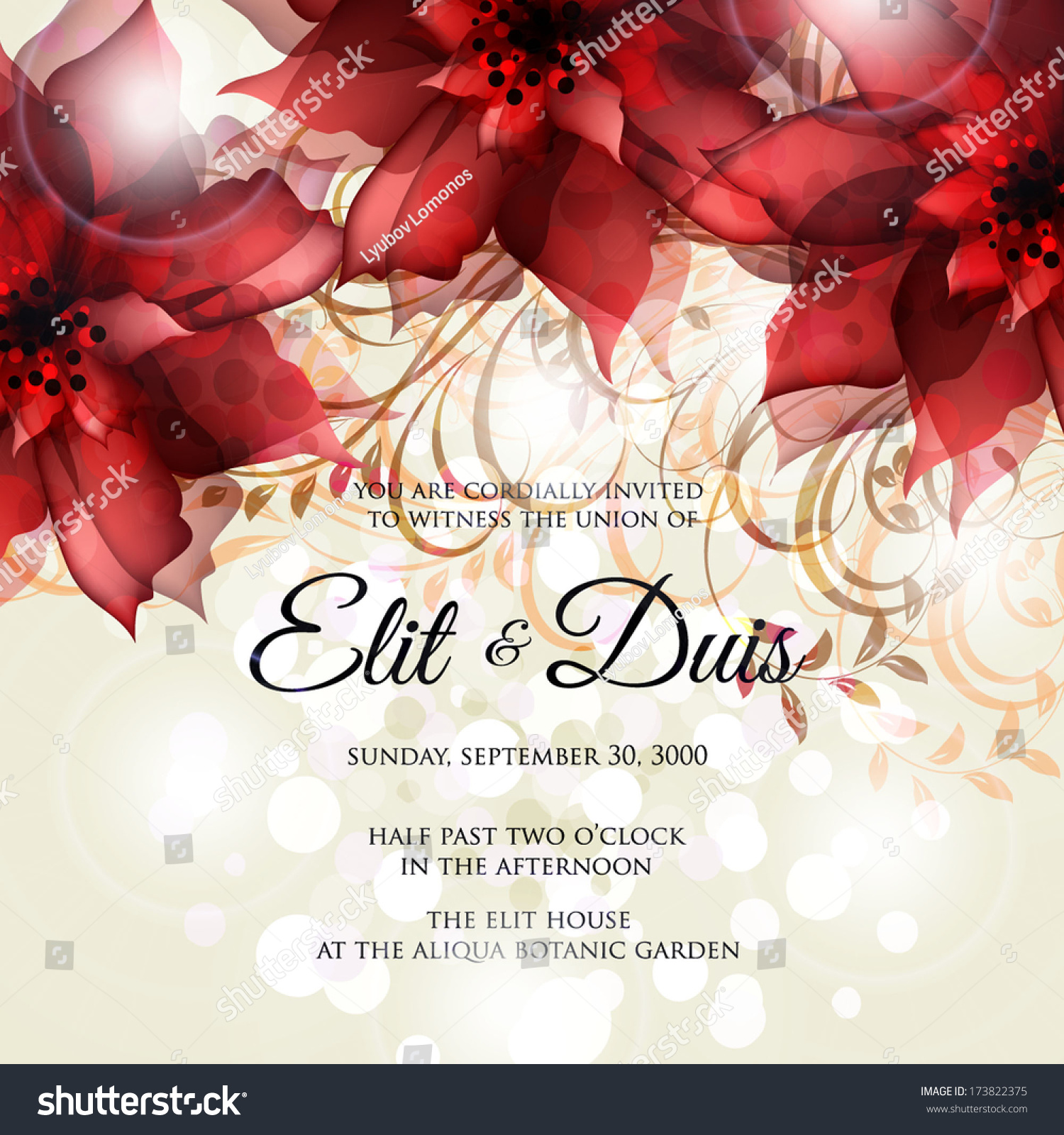 Wedding Invitation Card Stock Vector (Royalty Free) 173822375 ...