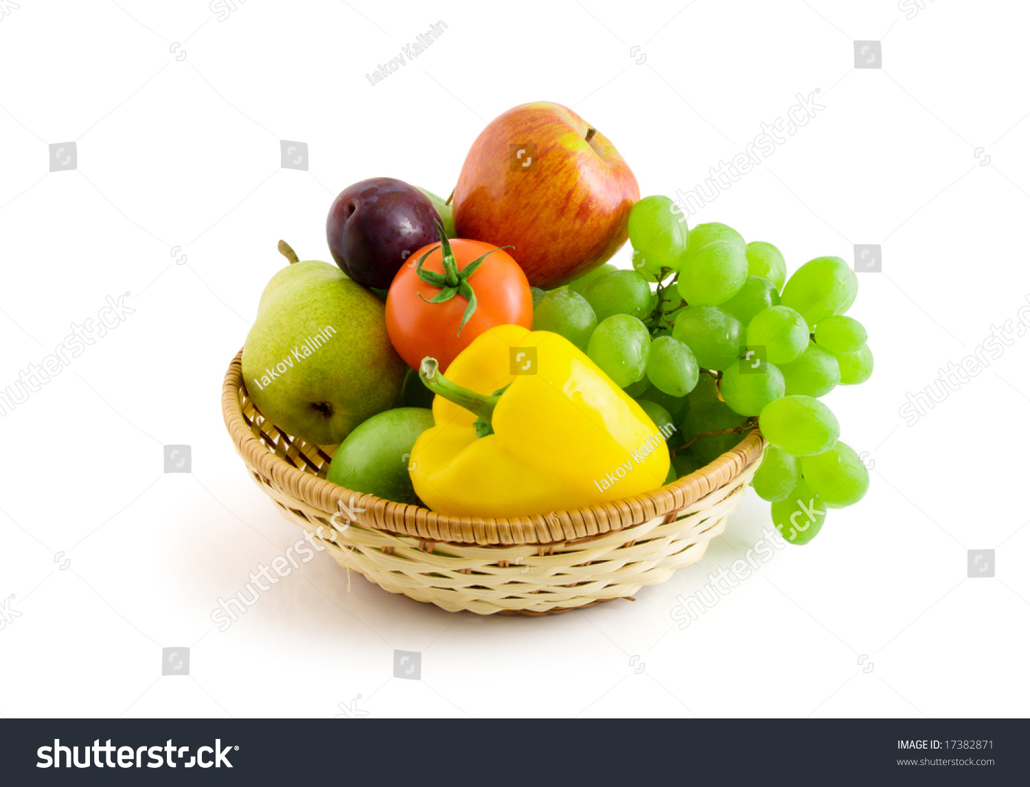 Fruits And Vegetables In Basket Isolated On The White ...