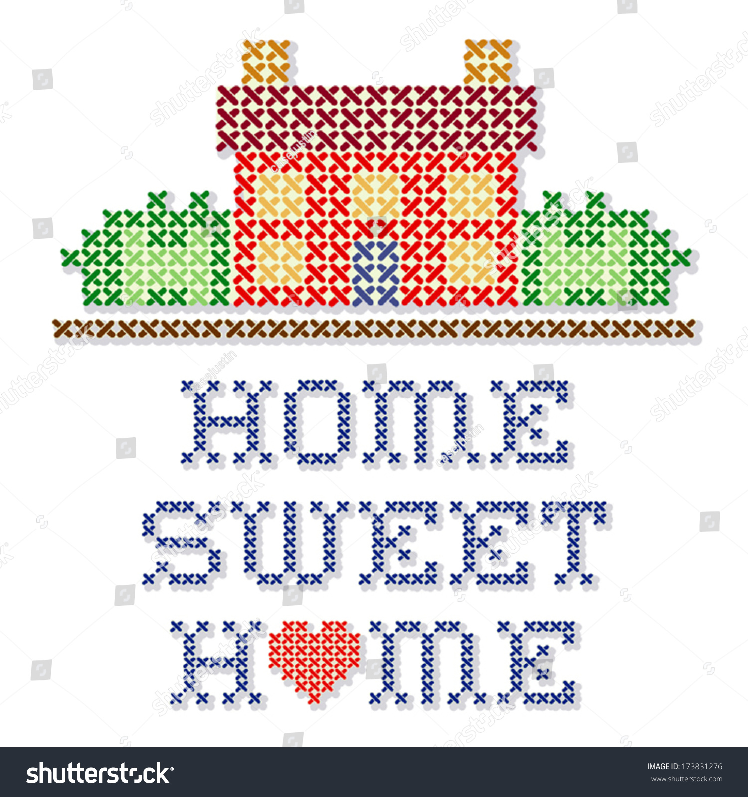 Home Sweet Home Embroidery Cross Stitch Stock Vector Royalty Free