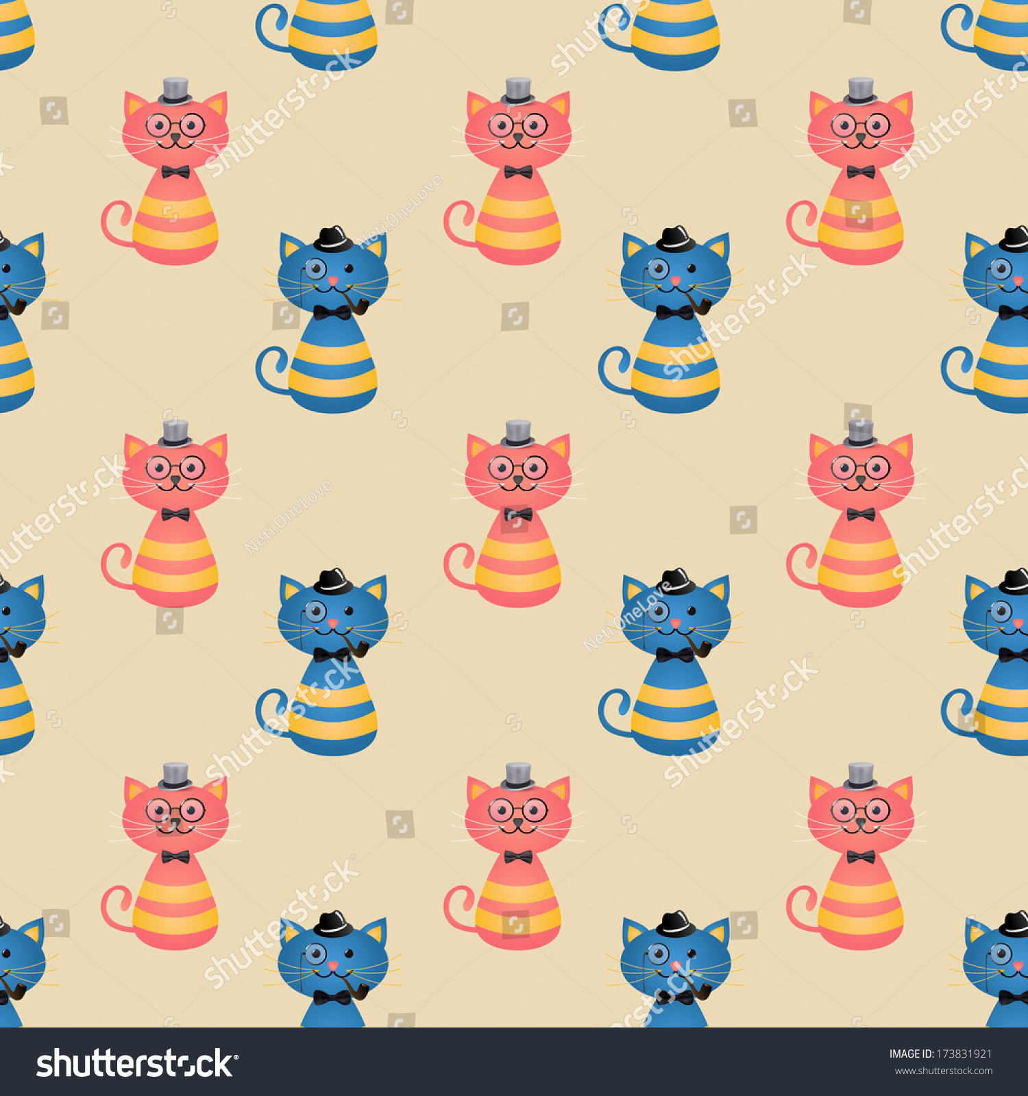 cute hipster cats vector seamless background stock vector