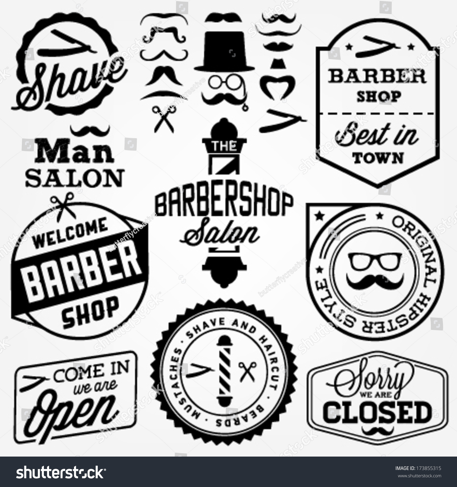 Antique barber shop sign - Collection Of Vintage Barber Shop Design Elements