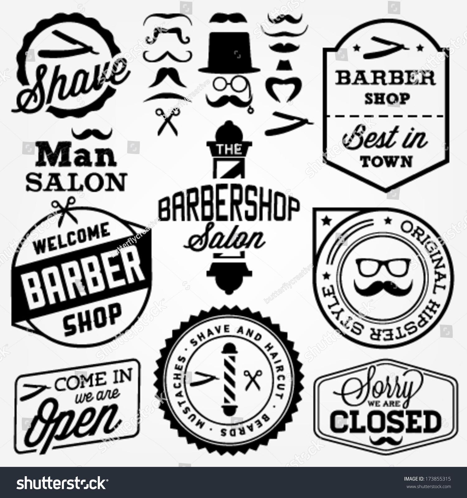 Collection Of Vintage Barber Shop Design Elements Stock Vector ...