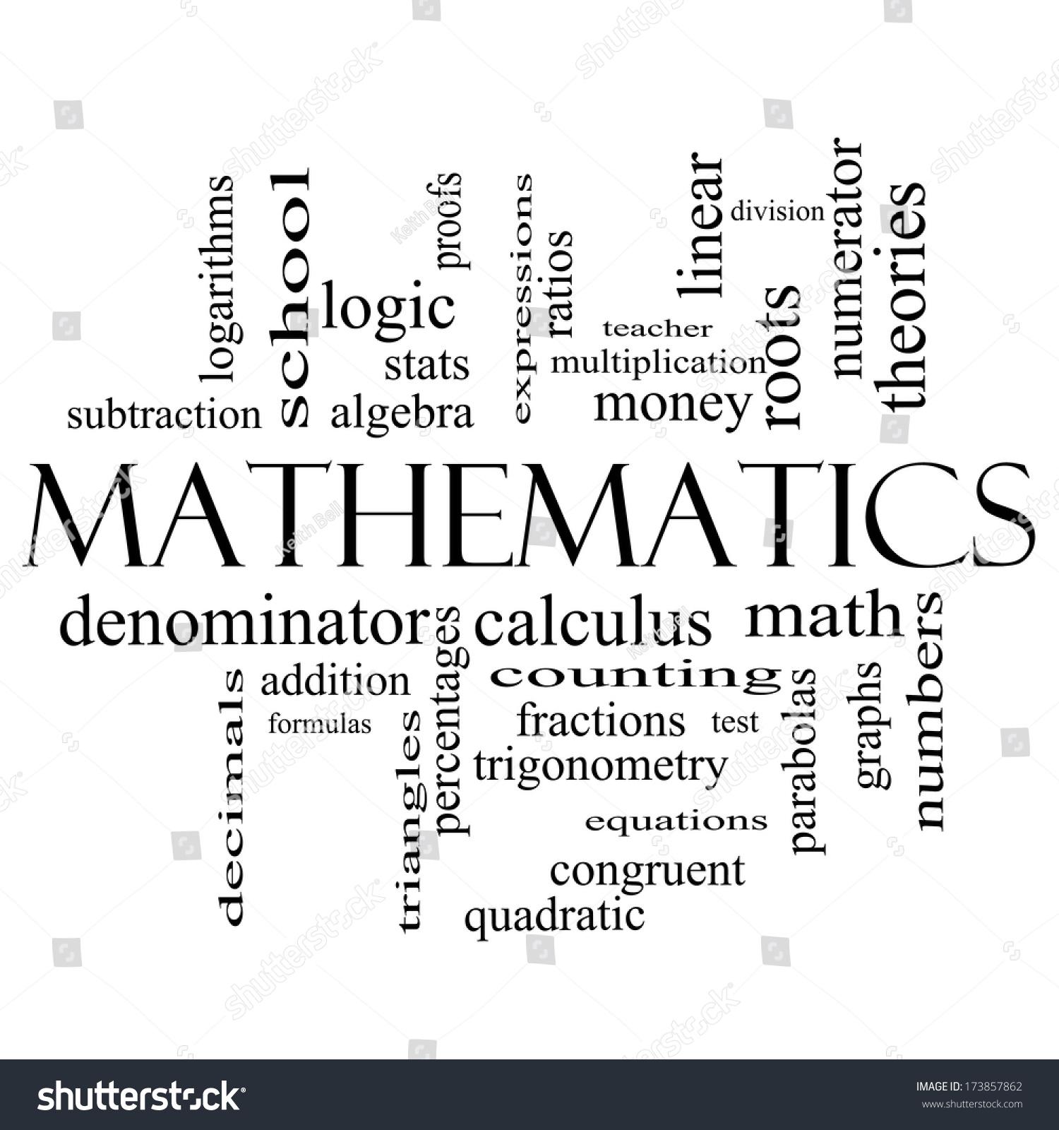 mathematics word cloud concept black white stock illustration