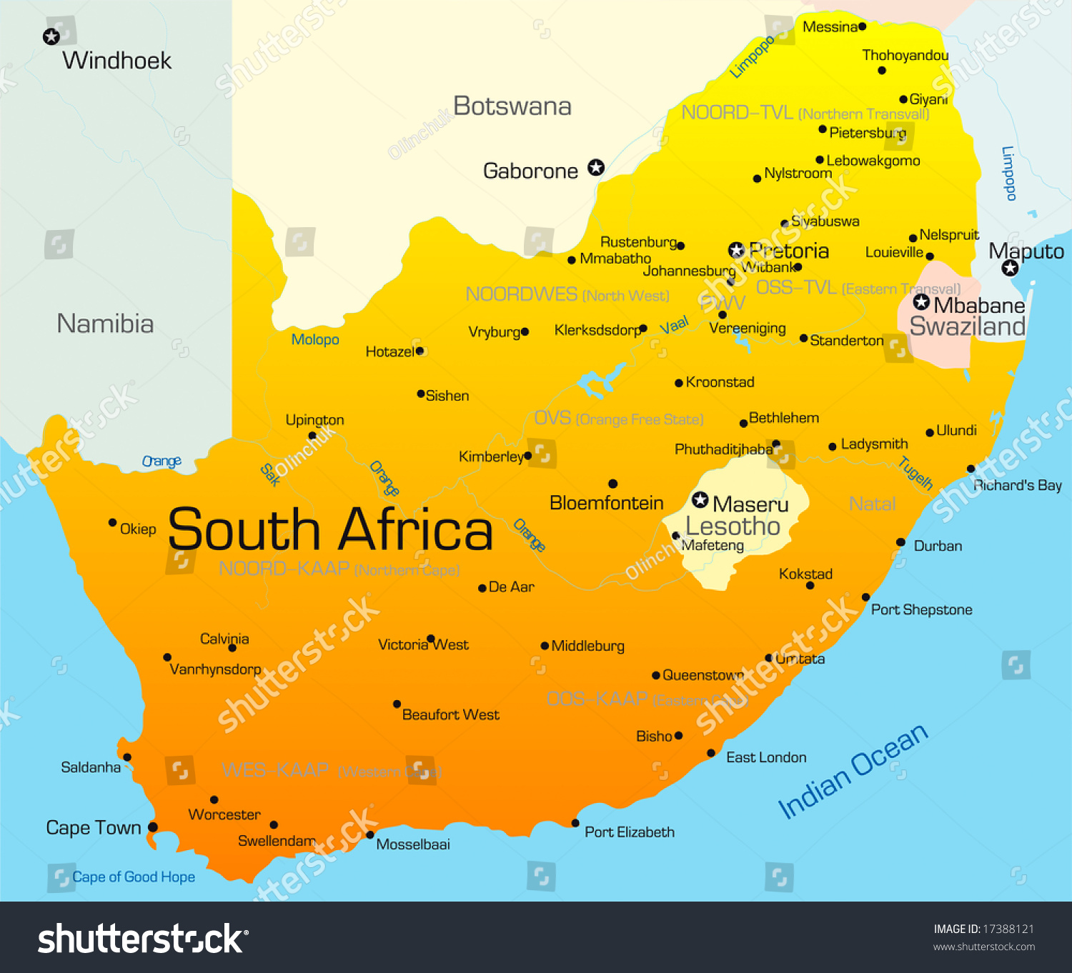 Abstract Vector Color Map Of South Africa Country ...