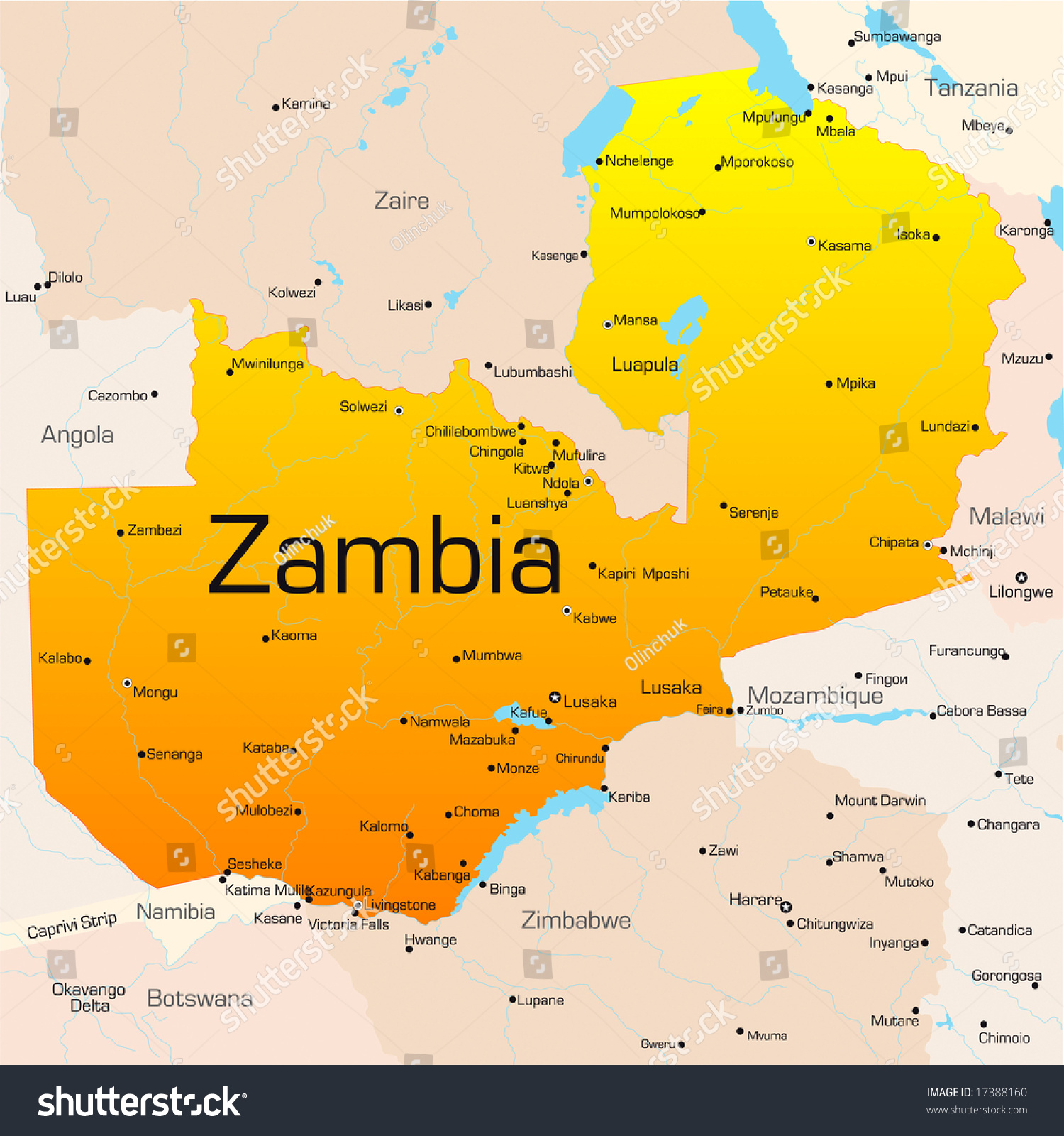Abstract Vector Color Map Zambia Country Stock Vector - Zambia time zone map