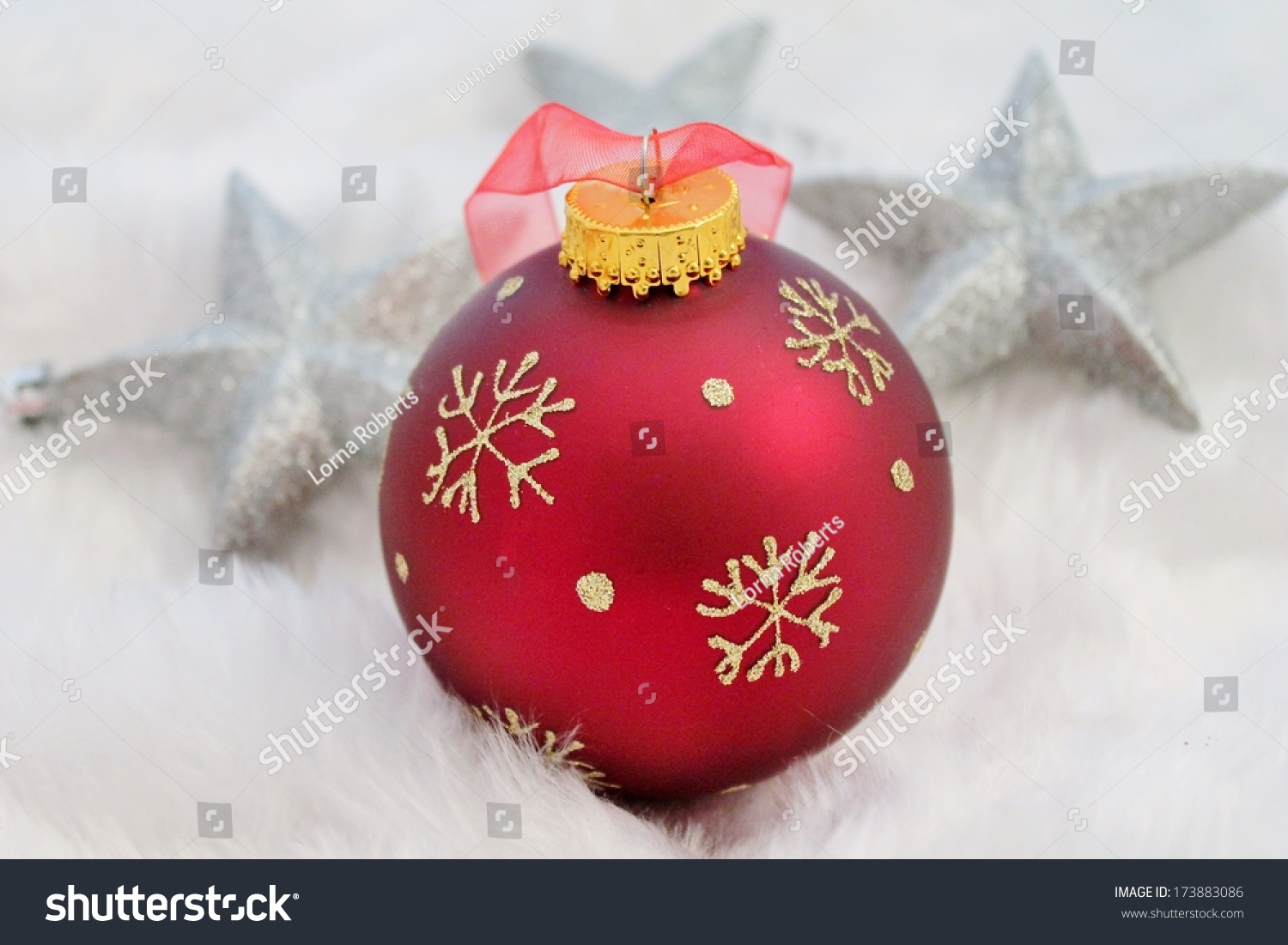 Red silver christmas decoration fake snow stock photo