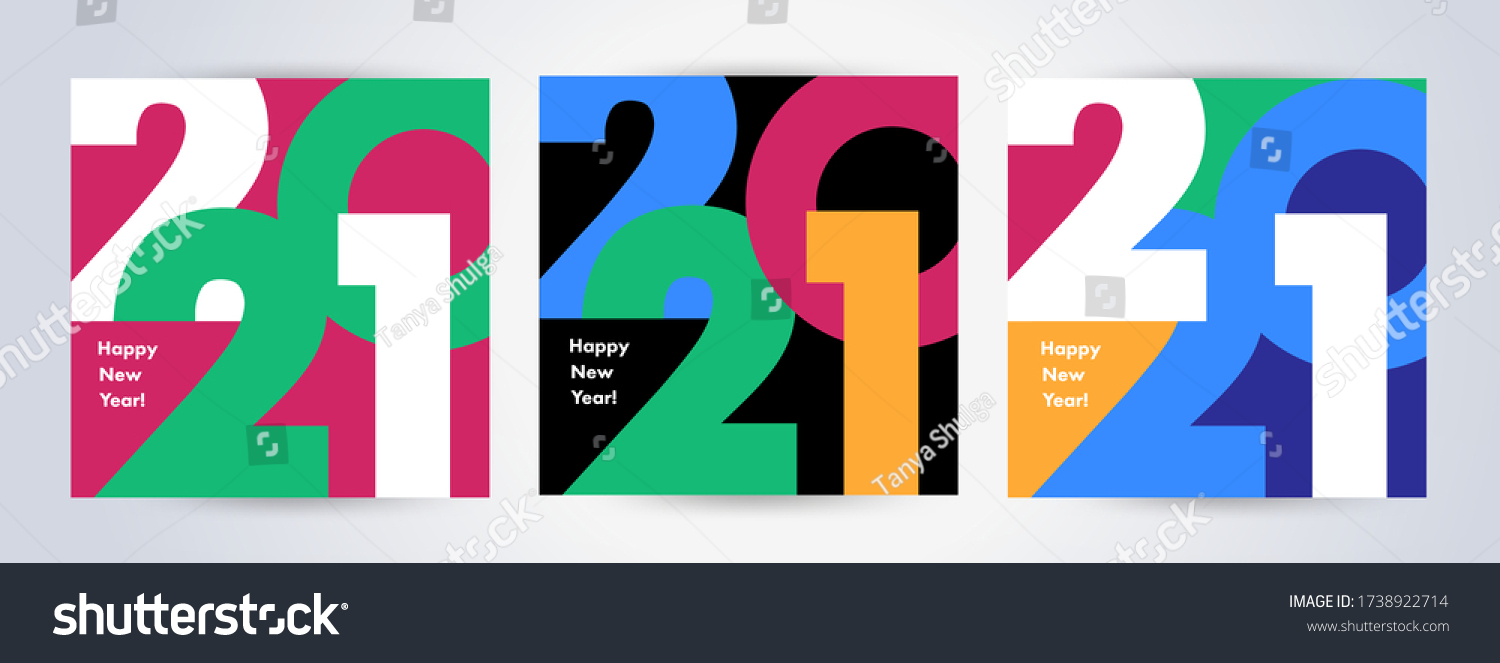 Creative concept of 2021 Happy New Year posters set. Design templates with typography logo 2021 for celebration and season decoration. Minimalistic trendy backgrounds for branding, banner, cover, card #1738922714