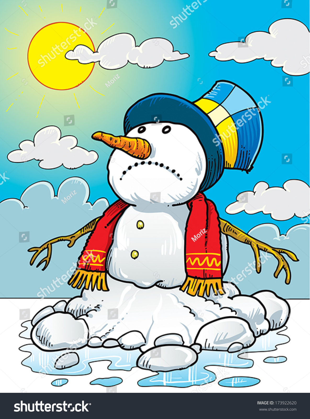 Snowman Melting On Sun Stock Vector 173922620 - Shutterstock