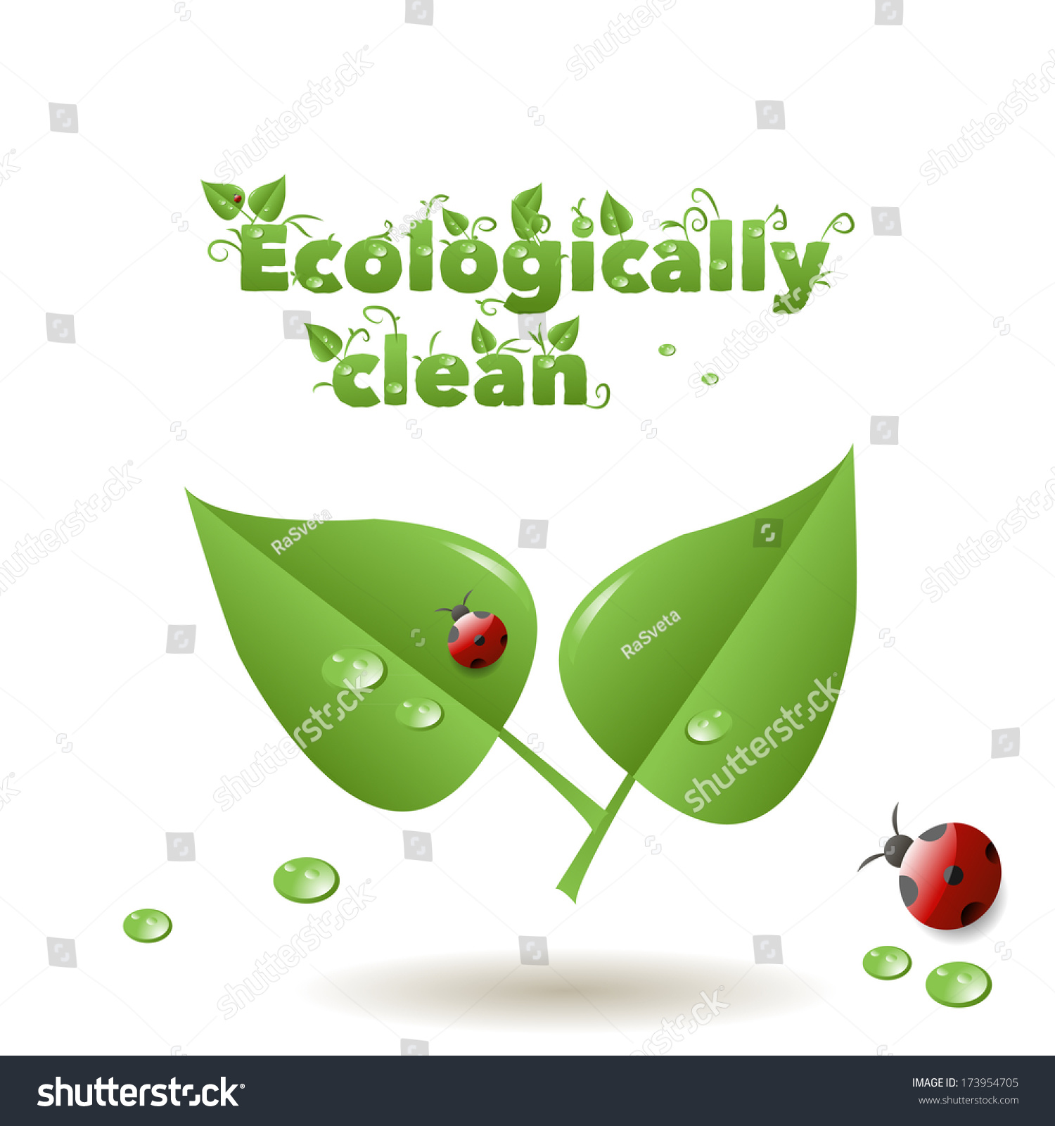 Leaves Drops Ladybug Inscription Ecological Clean Stock Illustration ...