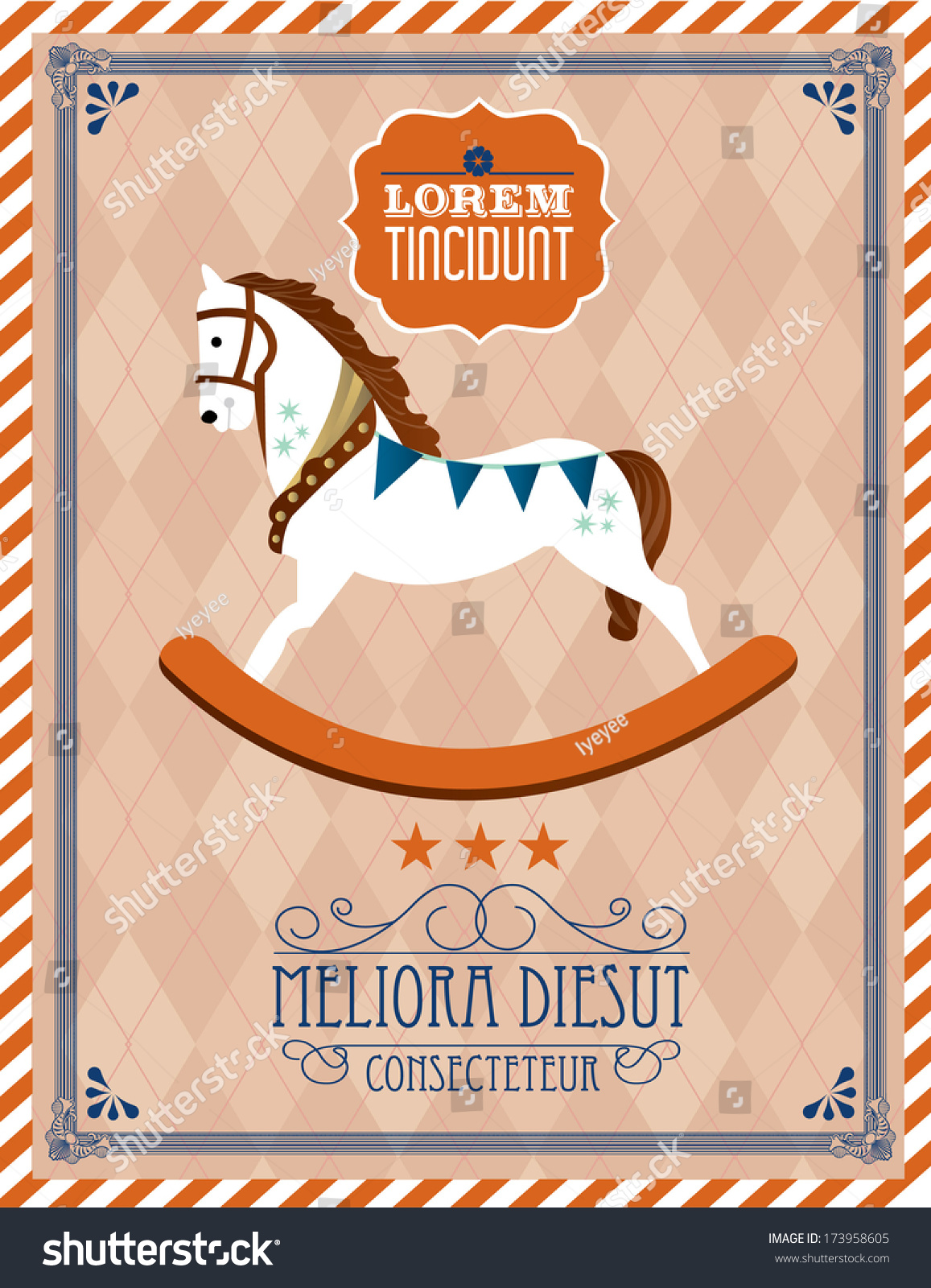 Rocking Horse Template Vectorillustration Stock Vector 173958605