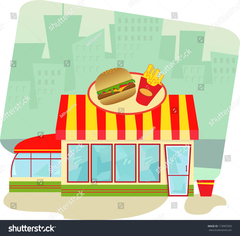 Fast Food Resturant Cartoon Buildings