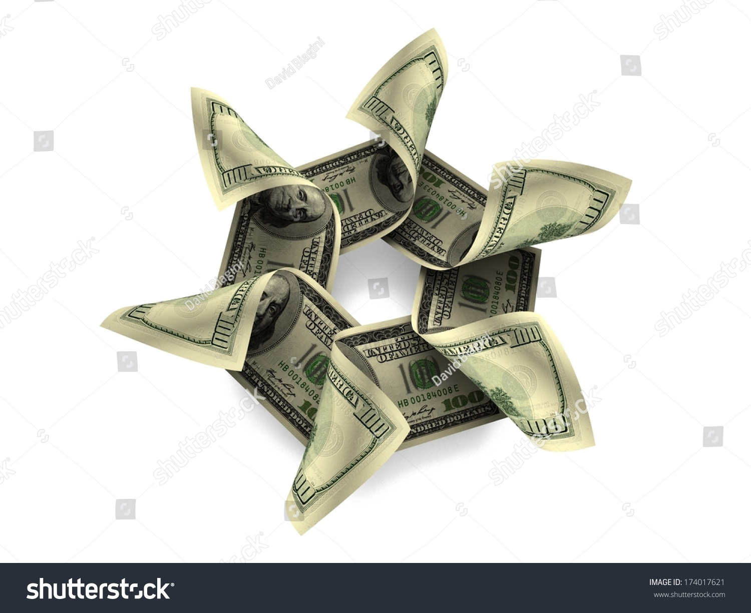 Money Flower One Hundred Dollar Notes Stock Illustration 174017621