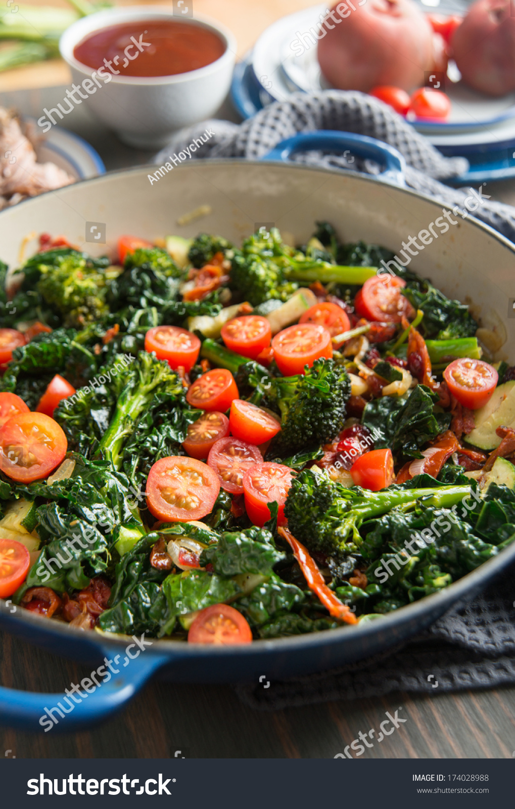 Wilted Kale, Broccoli, and Cherry Tomatoes