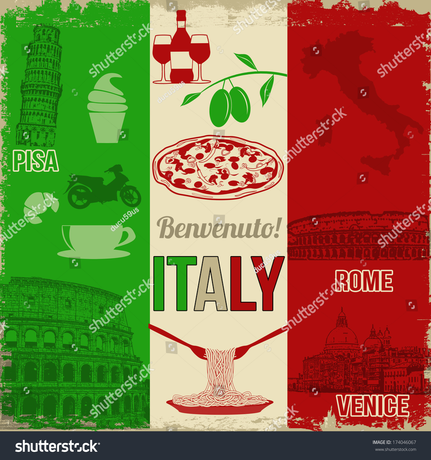Italy Travel Grunge Seamless Pattern National Stock Vector