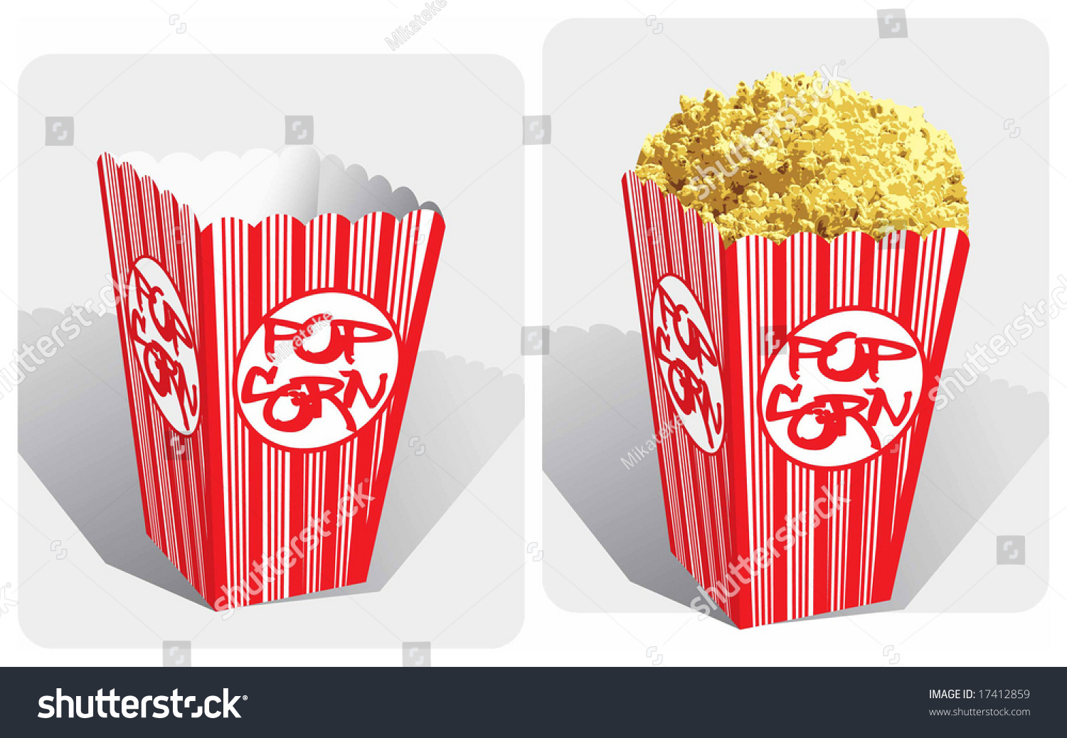 Color Vector Image Of Classic Movie-Theater Popcorn Box ...