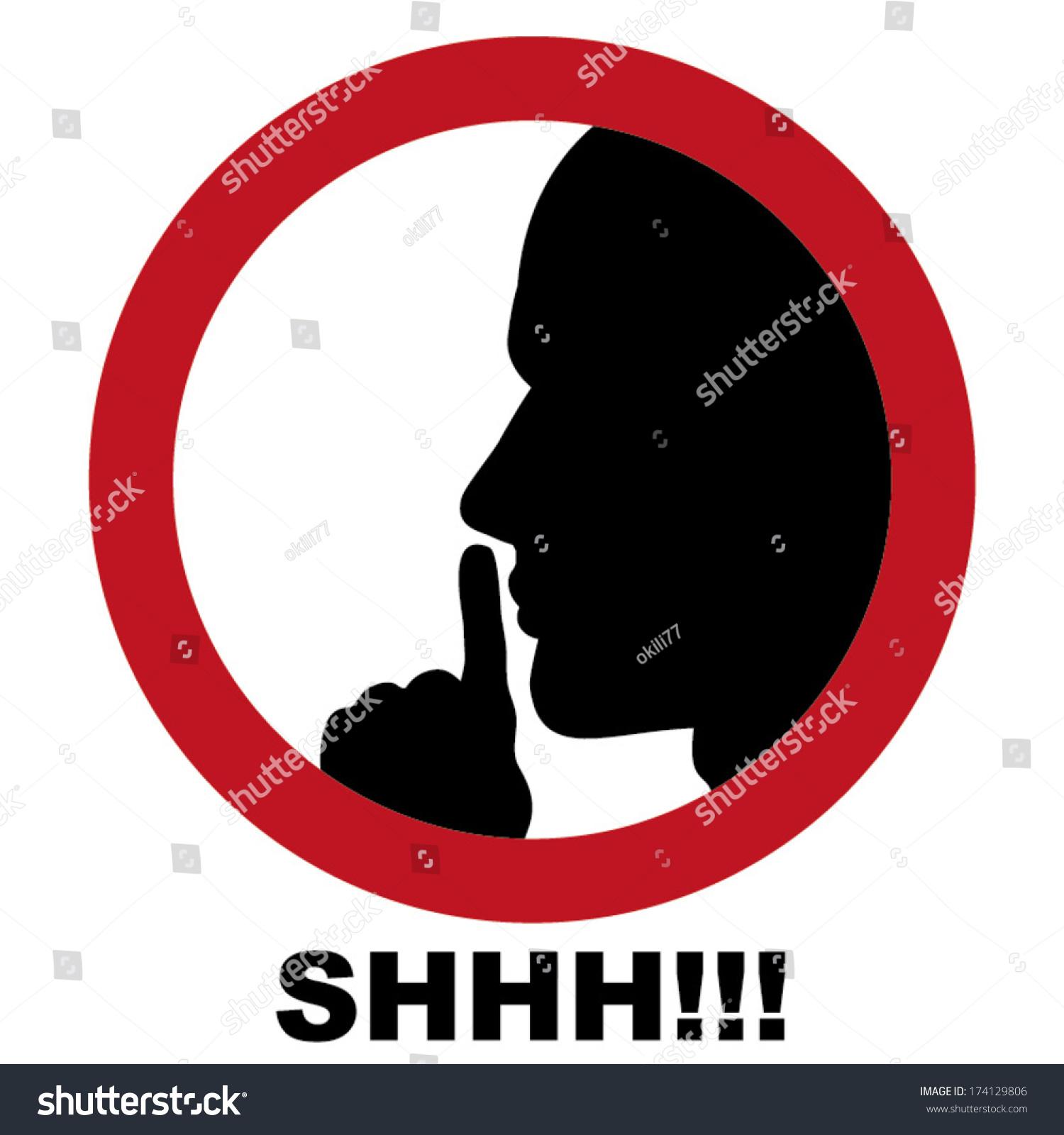 Shhh Sign Vector - 174129806 :...