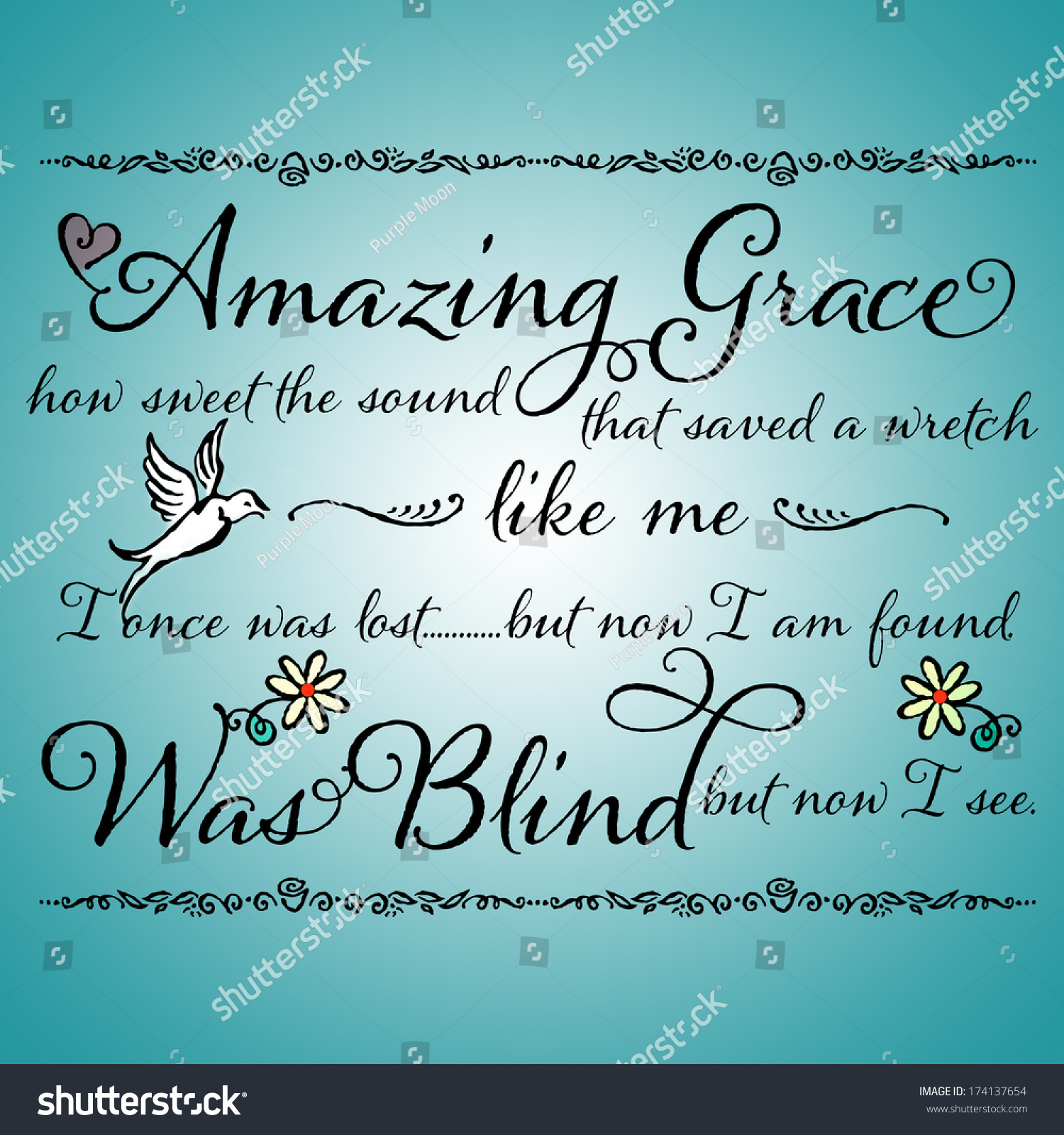 Amazing Grace: Amazing Grace Word Art Teal Illustration Stock