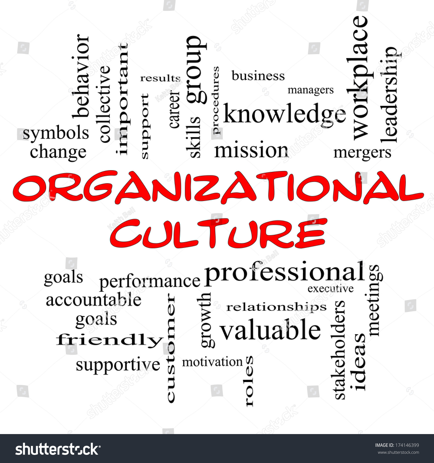 Organizational Culture Word Cloud Concept Red Stock Illustration