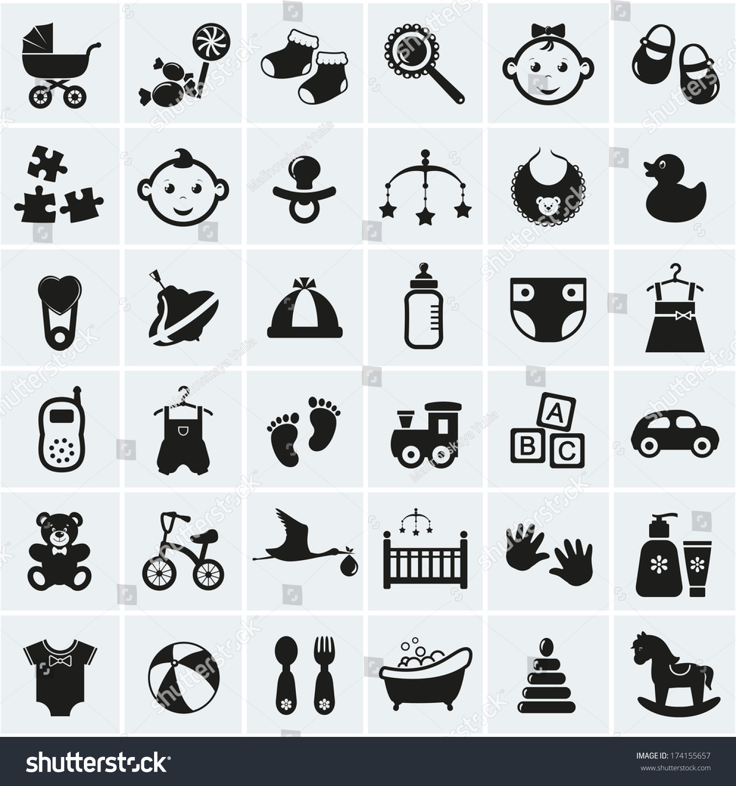 Collection 25 Baby Icons Vector Illustration Stock Vector ...
