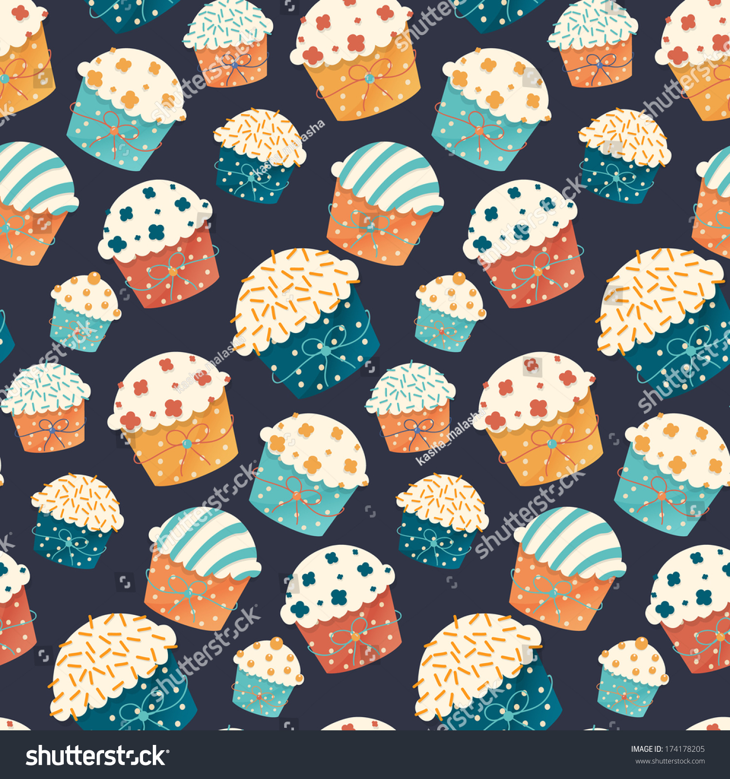 Cupcake Paper Design : Seamless Vector Cupcake Pattern Birthday Party Stock ...