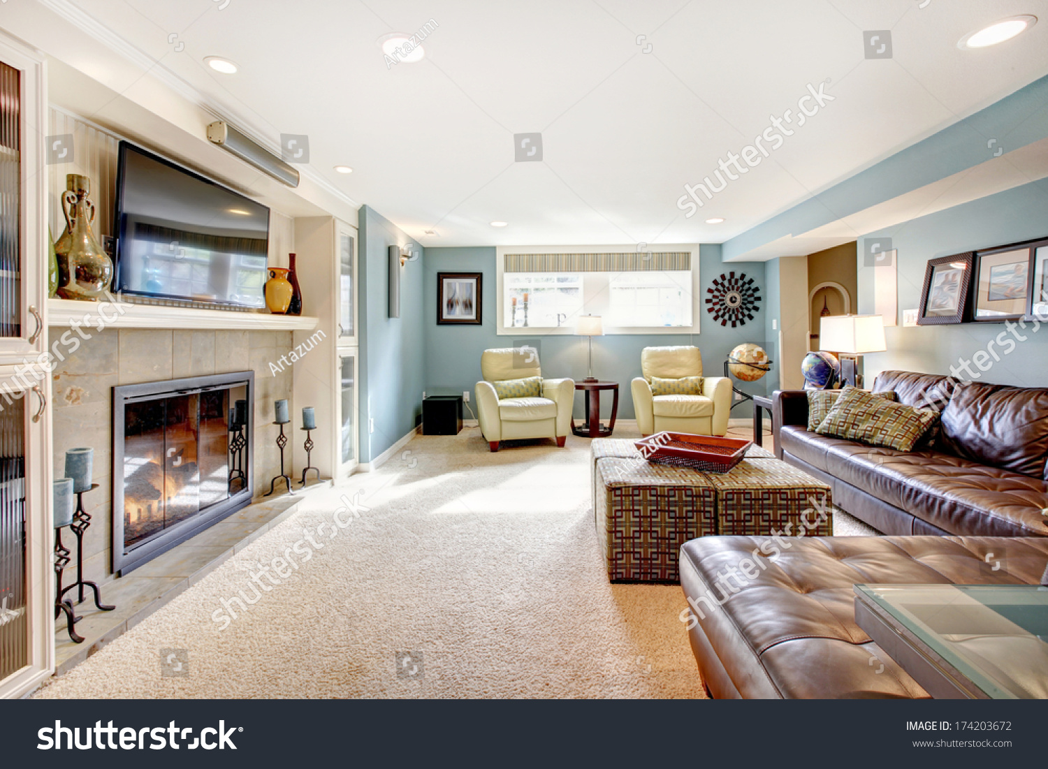 Light Blue Living Room Leather Furniture Stock Photo 174203672 ...