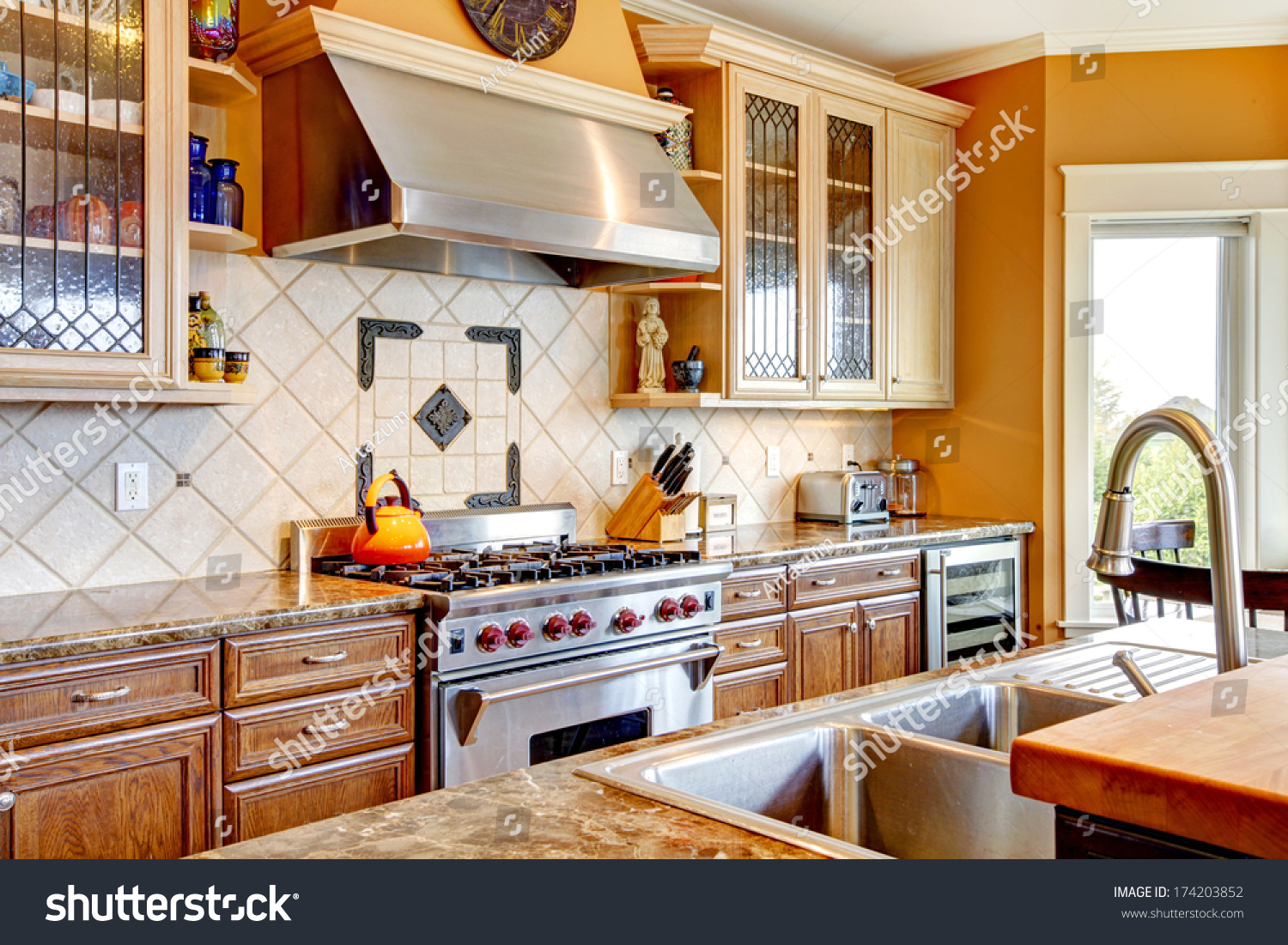 Yellow Tones Kitchen With Tile Decorated Back Plash