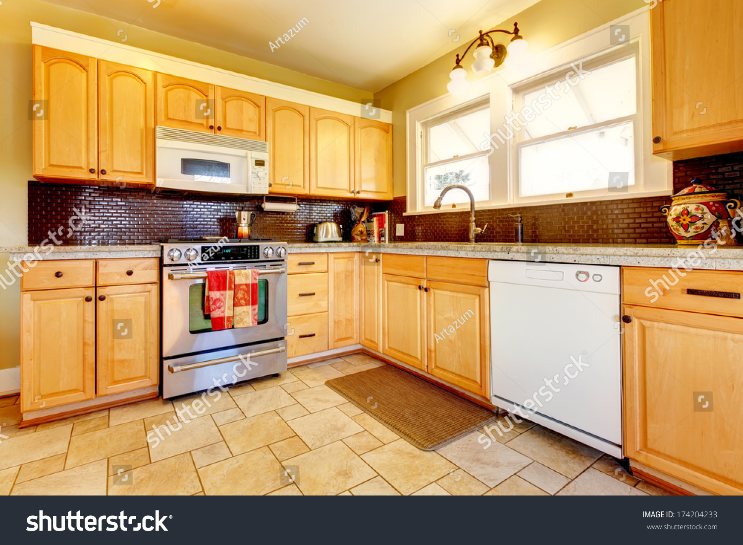 yellow kitchen dark cabinets yellow kitchen wood cabinets brown stock photo 1691