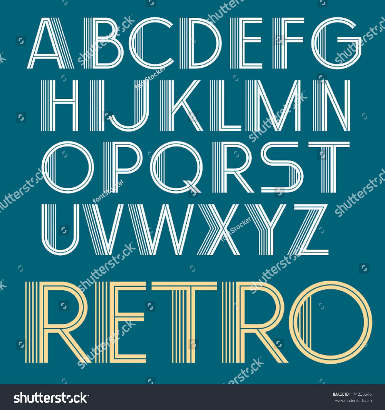 Vintage Vector Retro Font Retro Typography Art Deco Type
