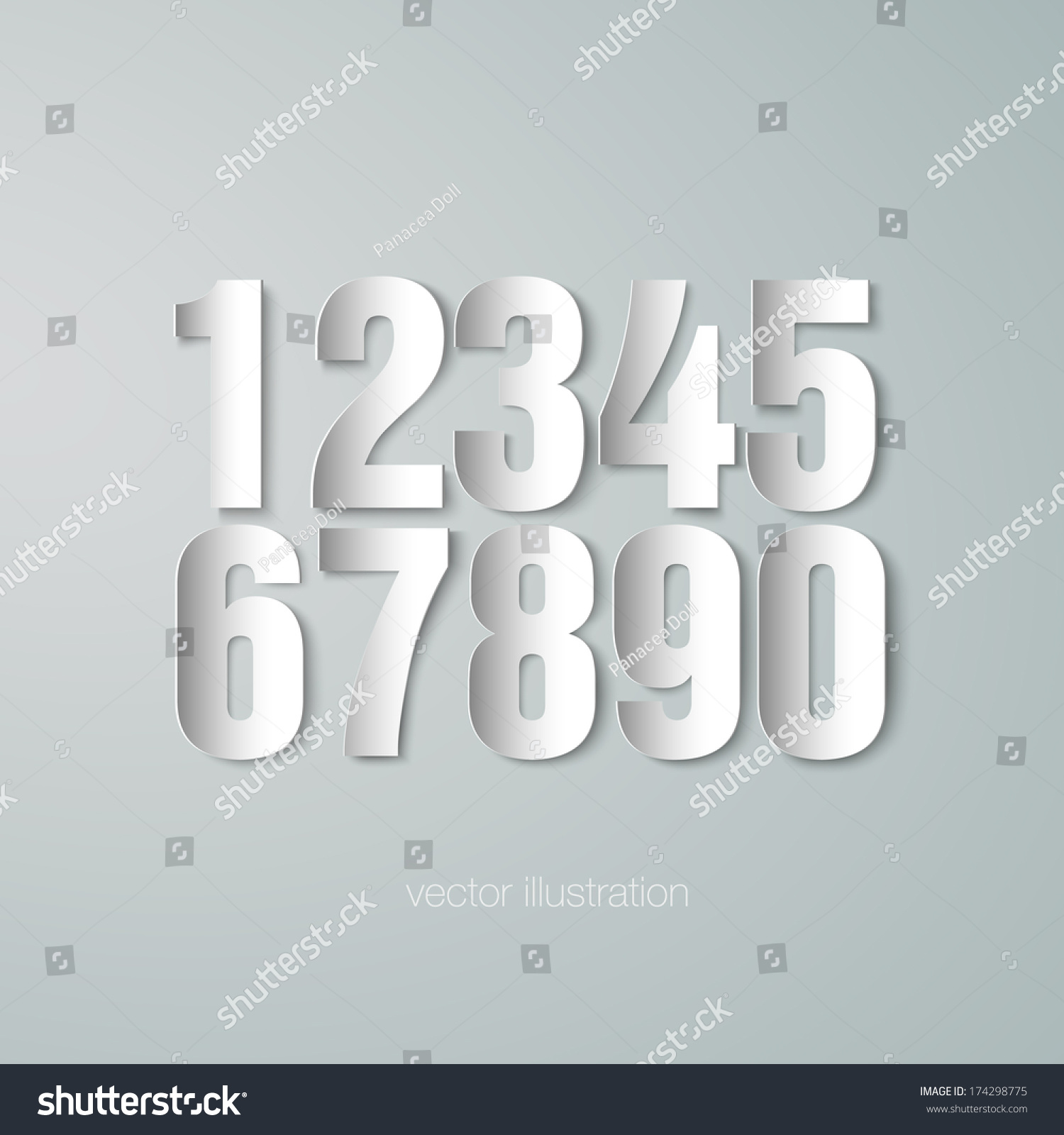 Set Vector Paper Numerals Stock Vector (Royalty Free