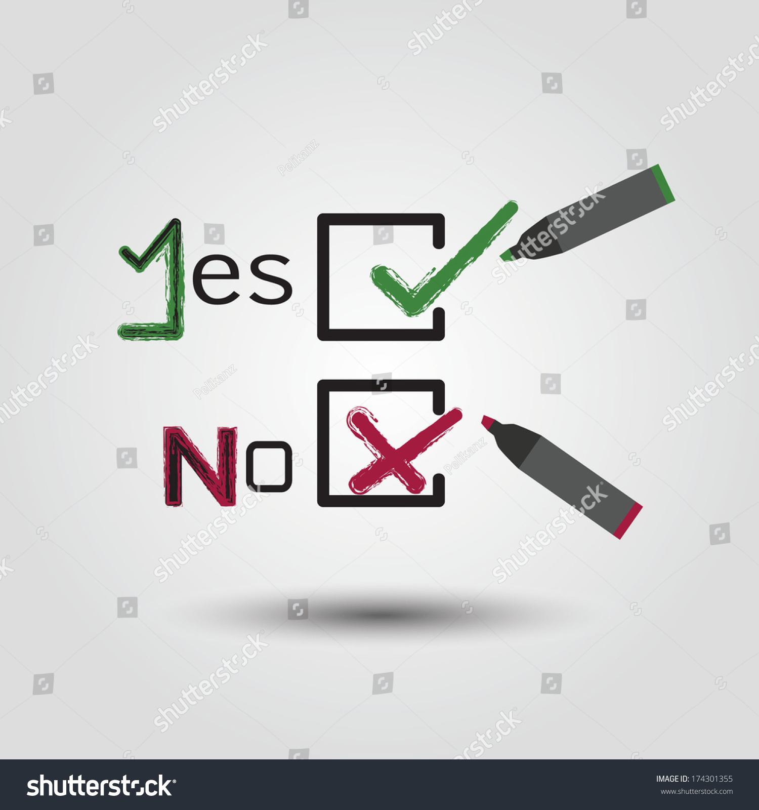Check mark cross symbols check box stock vector 174301355 check mark and cross symbols in check box including word yes word no buycottarizona Choice Image