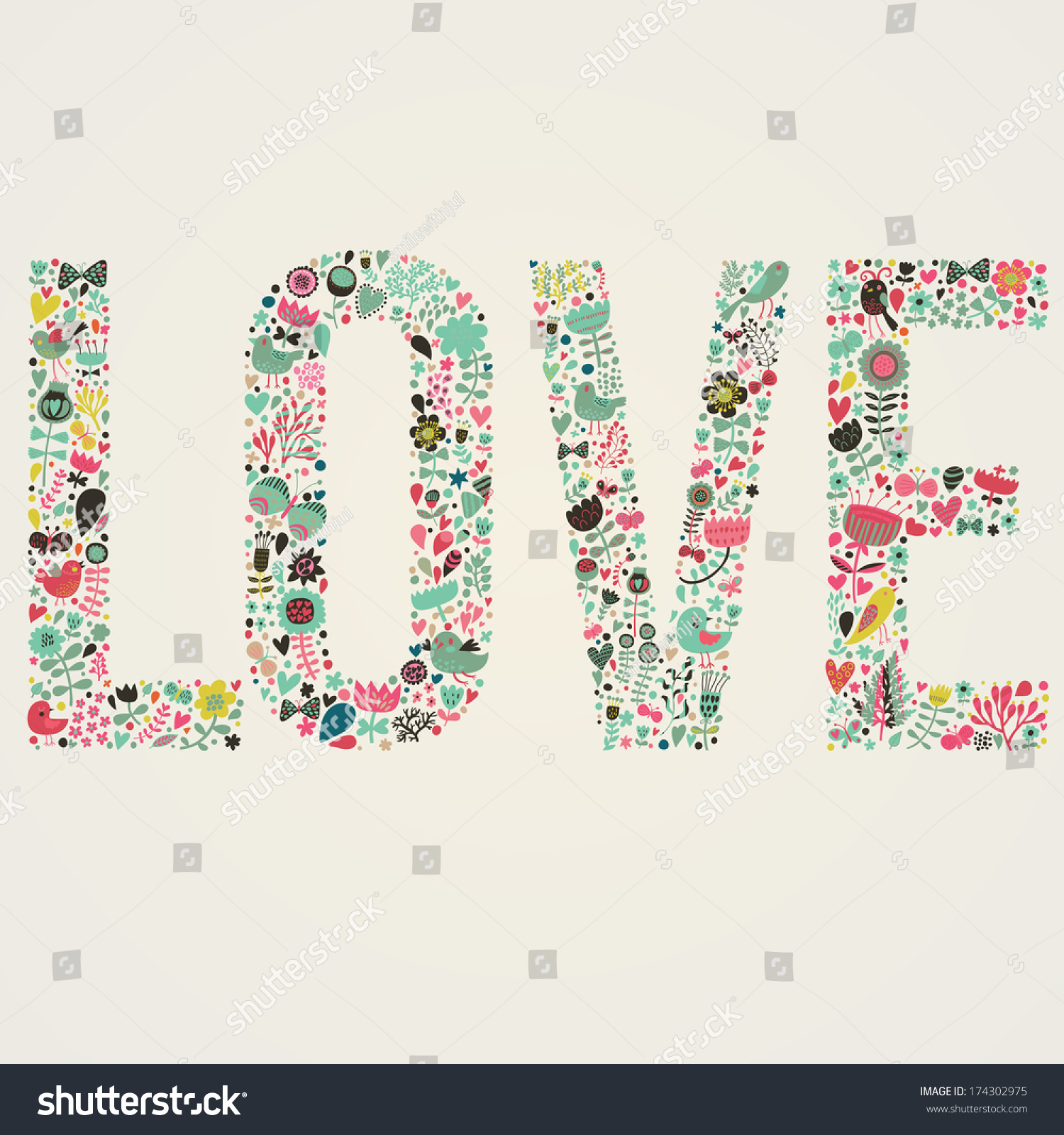 stylish floral card love word made stock vector 174302975