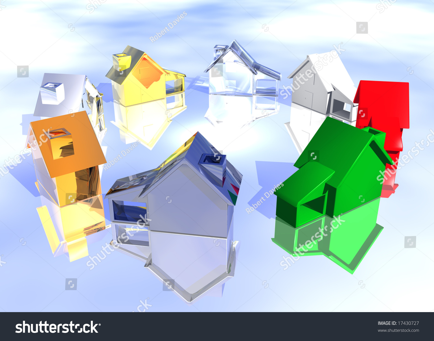Ring Various Types Houses Different Styles Stock