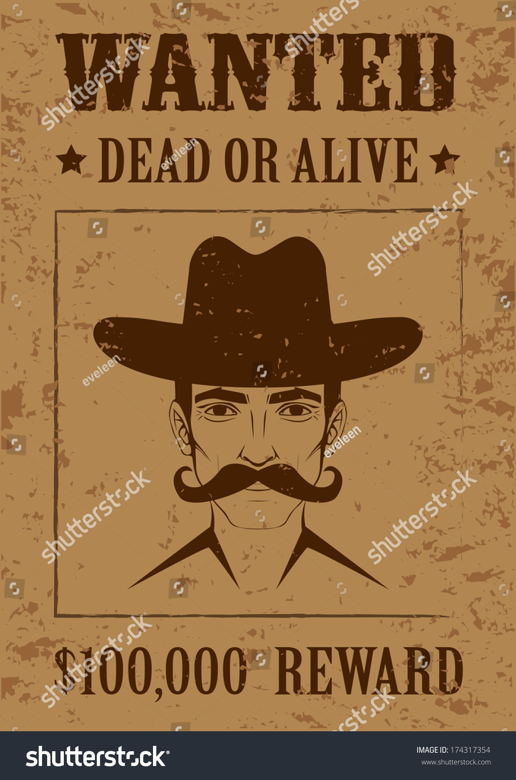 Western Vector Poster Wanted Dead Alive Stock Vector Royalty Free