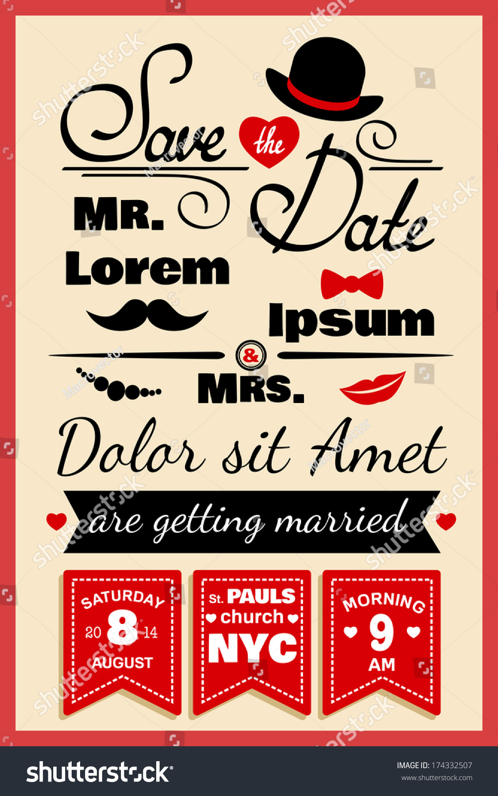 Wedding Invitation Card Infographics Elements Hipster Stock Vector ...