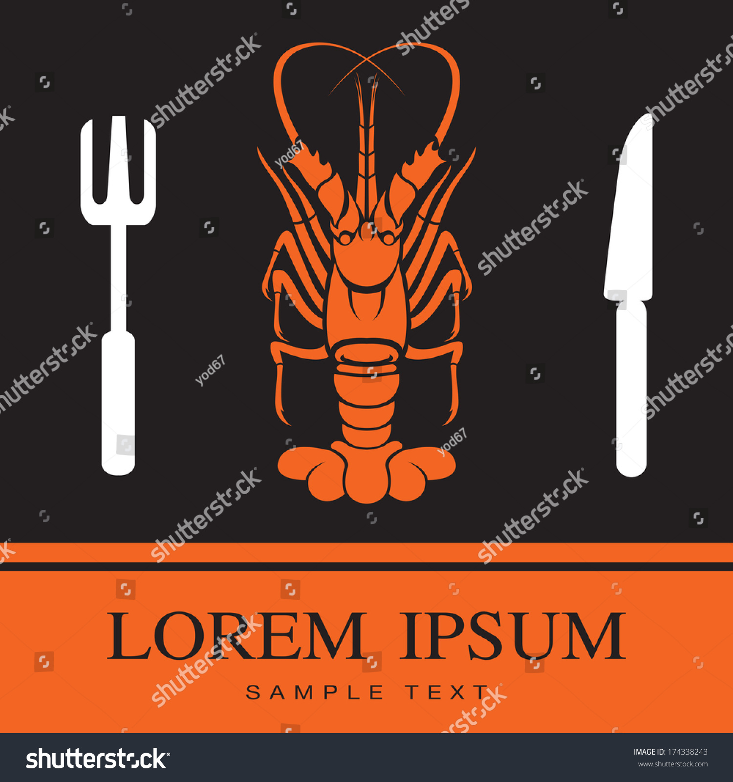 Vector Sea Food Label With Fork And Knife: Lobster Fork Knife Icon Restaurant Sign Stock Vector