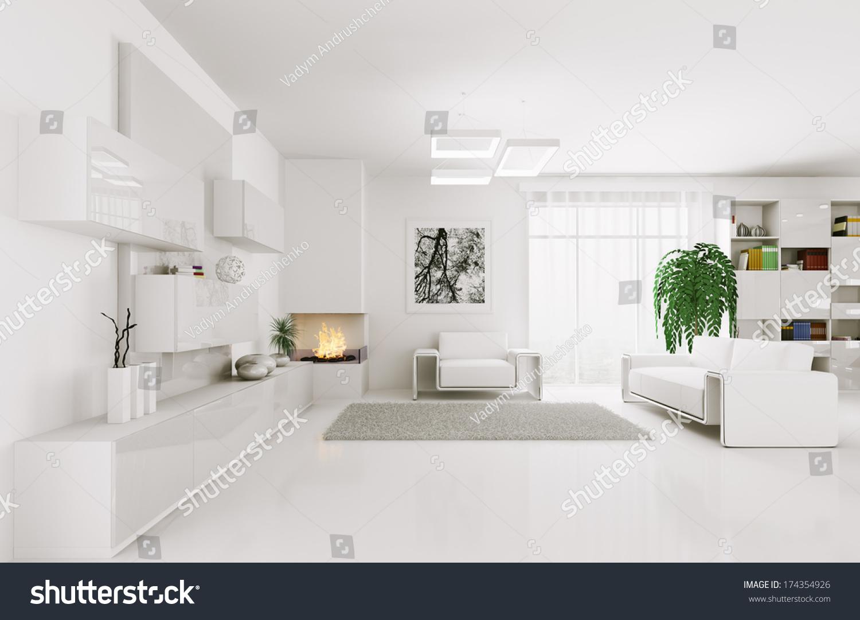Interior Modern White Living Room 3 D Stock Illustration 174354926 ...