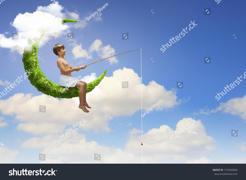Little boy sitting on moon fishing stock photo 174356849 for Fishing rod sun and moon
