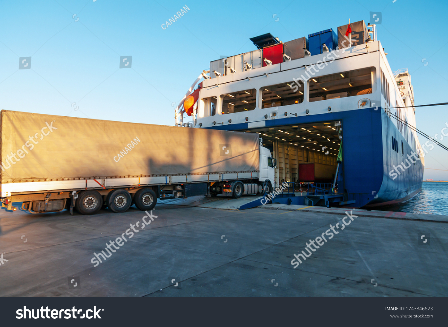 Ferry and Trucking Transportation - RO-RO Transport (Roll On/Roll Off) #1743846623