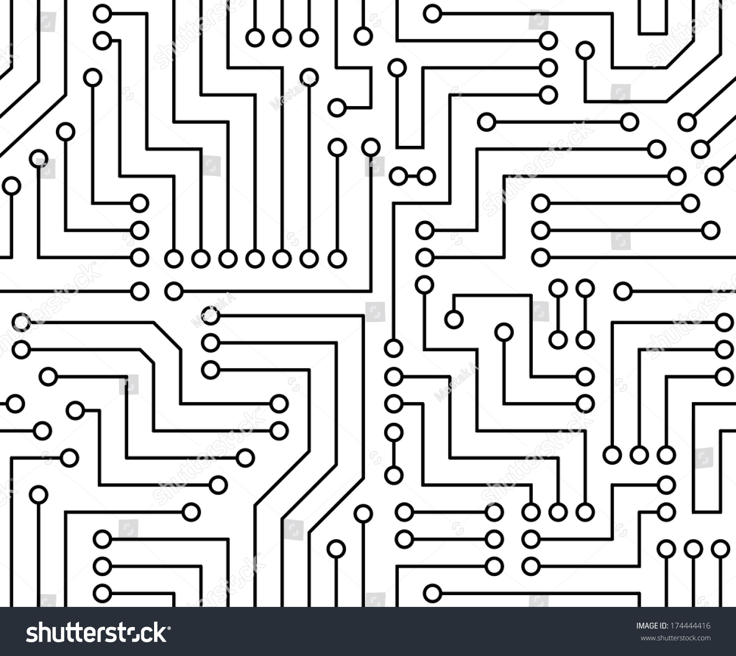 Black White Printed Circuit Board Seamless Stock Vector 174444416 ...
