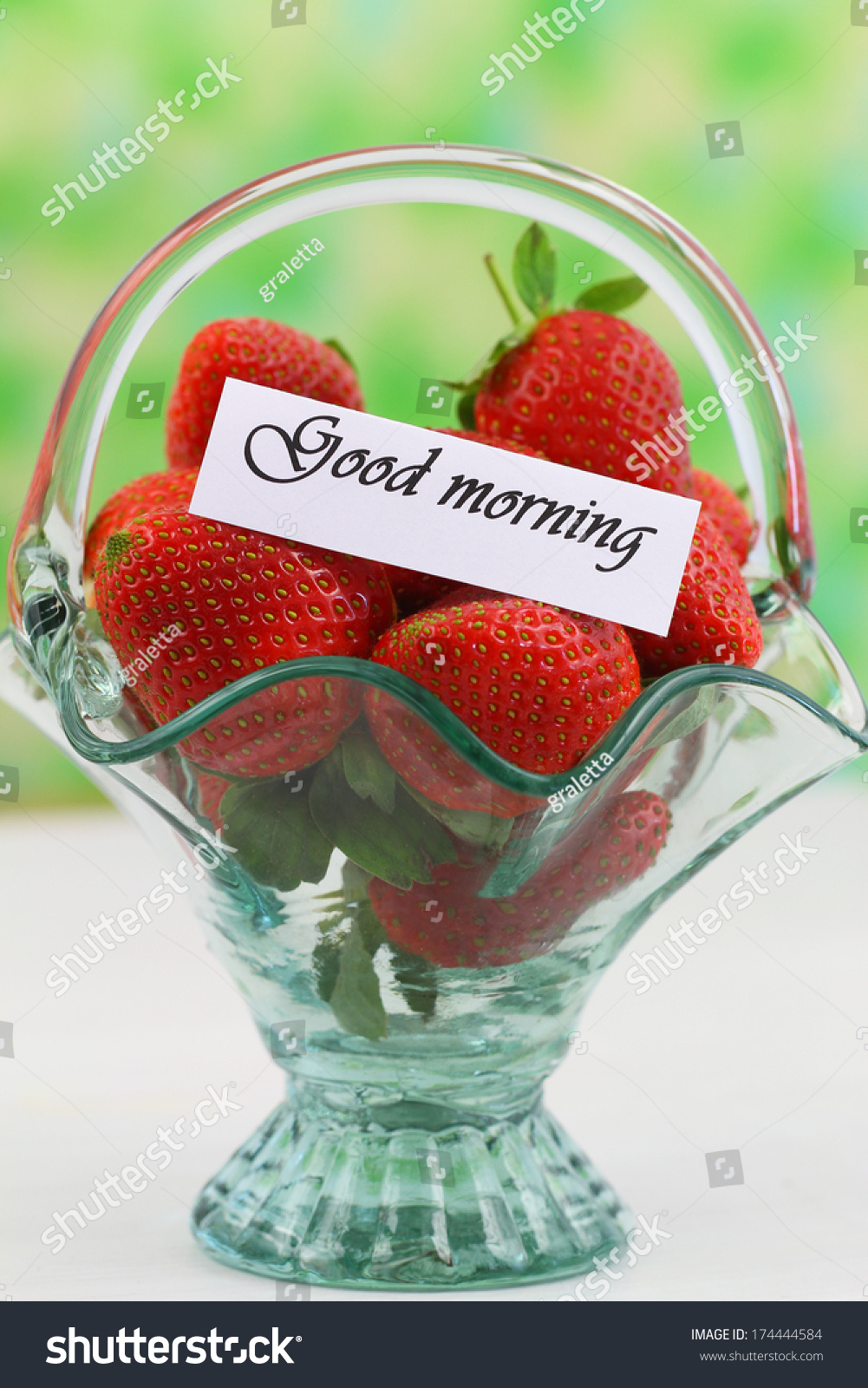 Good Morning Card Strawberries Vintage Glass Stock Photo Edit Now