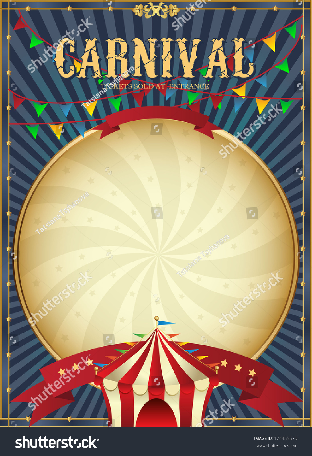 vintage carnival circus poster template vector stock
