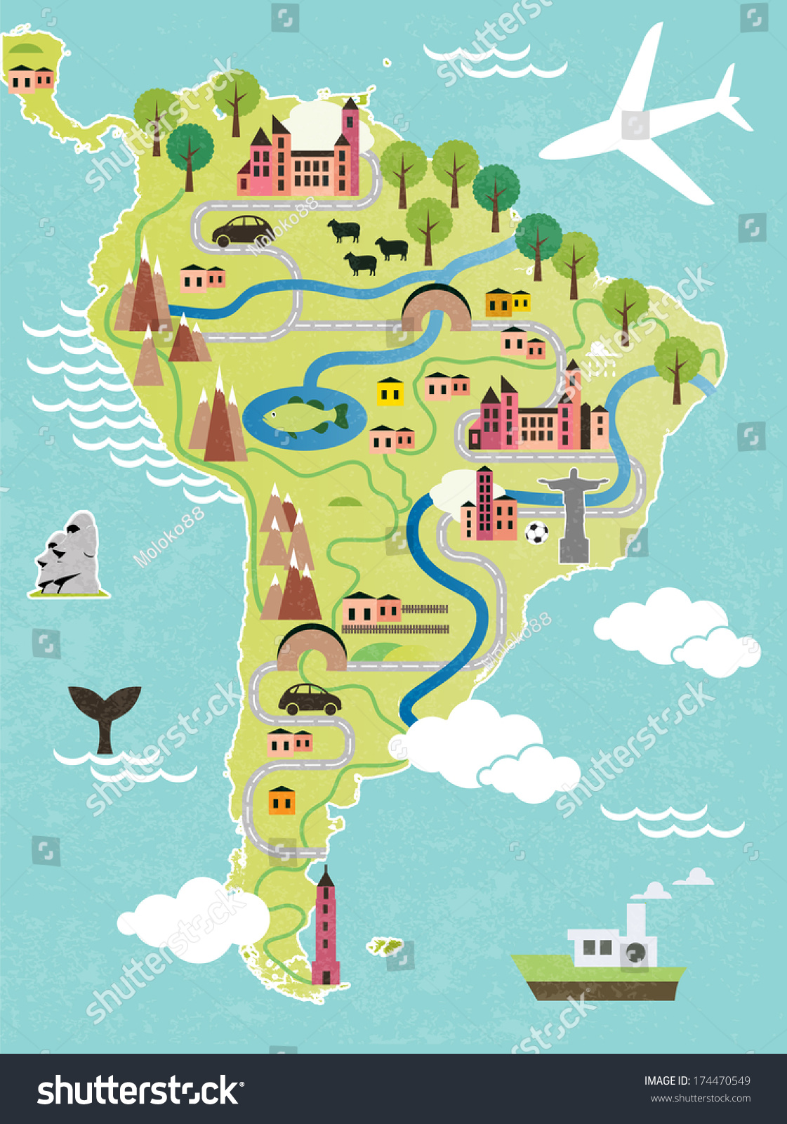 Cartoon Map South America Stock Vector Shutterstock - S america map