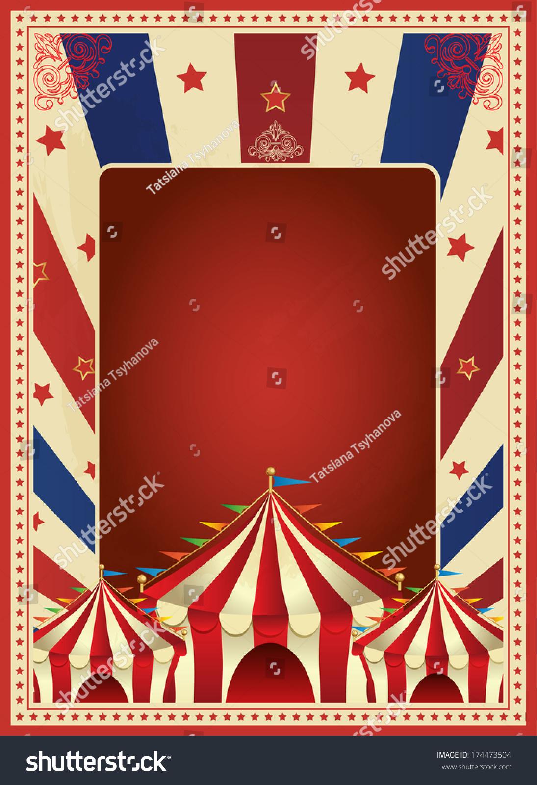 Vintage Carnival Poster Template Vector Mardi Gras Circus Illustration 174473504