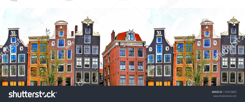 Amsterdam Traditional Houses Border Stock Photo 174473855