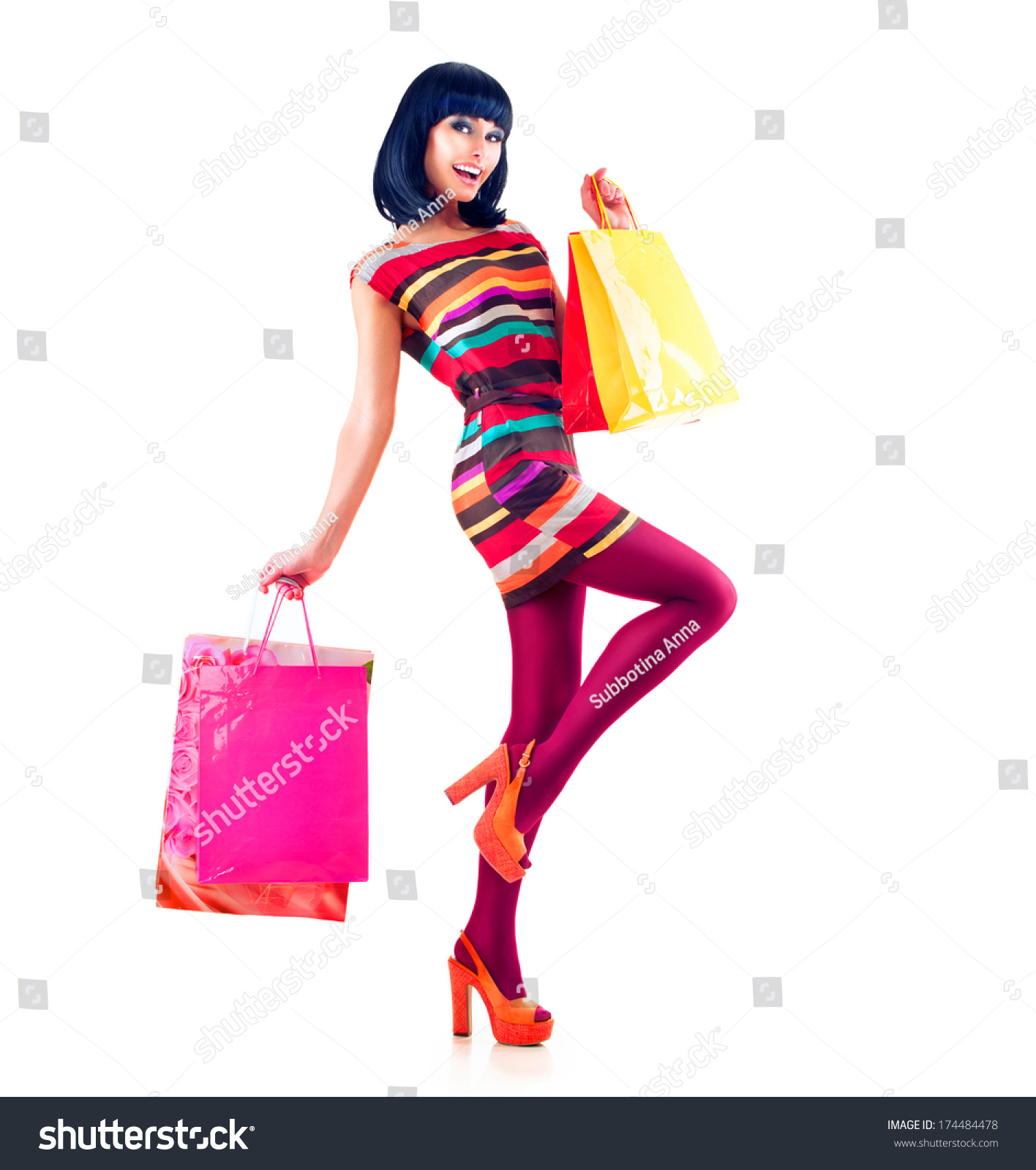 Woman posing with shopping bags isolated on white background full - Fashion Shopping Model Girl Full Length Portrait Beauty Woman With Shopping Bags Isolated On White