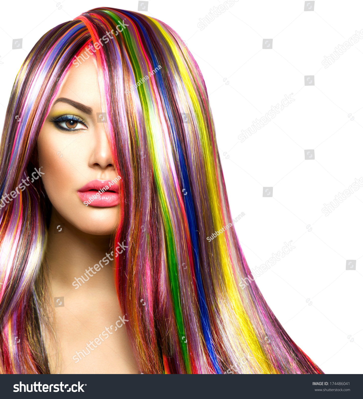 Colorful Hair Makeup Beauty Fashion Model Stock Photo Edit Now