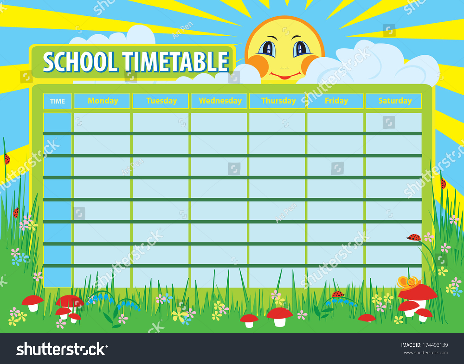 school timetable print template background stock illustration school timetable print template background