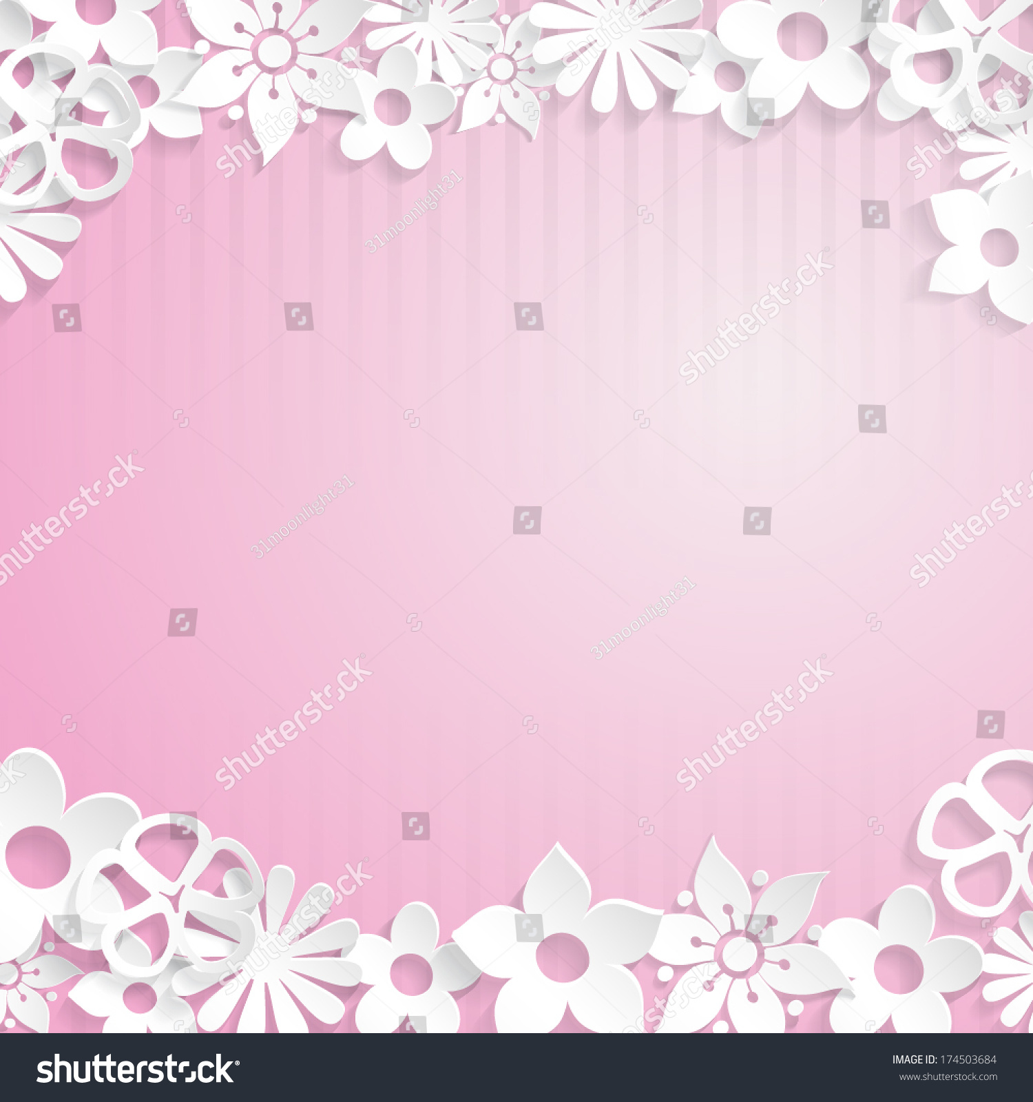 Pink Background Flowers Cut Out White Stock Vector